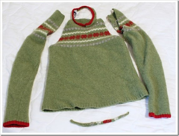 green wool felted sweater