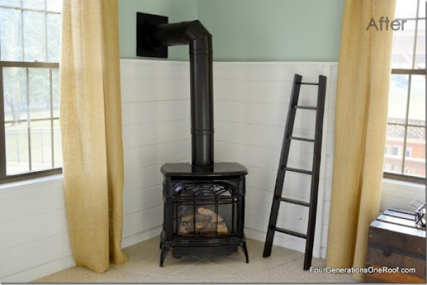 Planked walls, diy, vermont casting fireplace