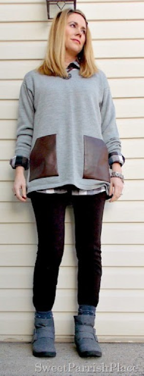 grey sweater with leather pockets and plaid shirt1