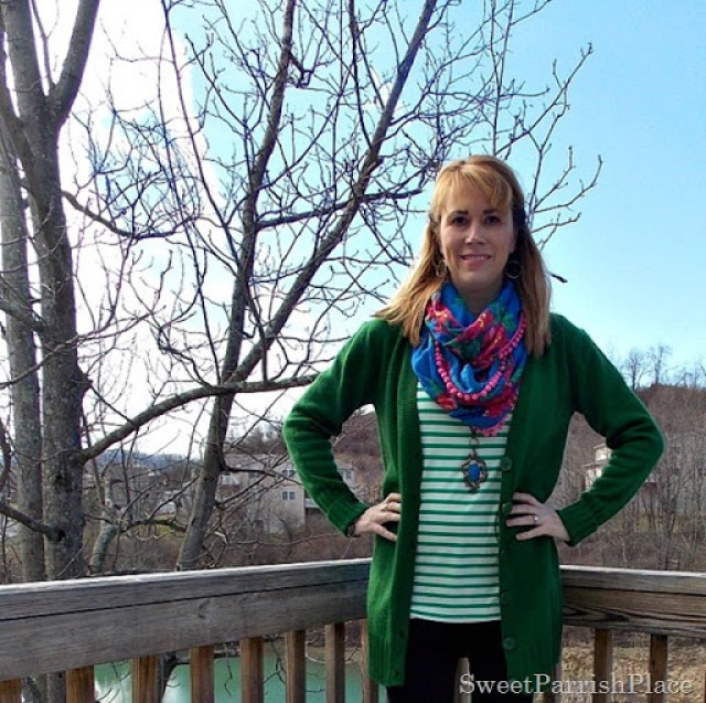green cardigan , green stripes, floral scarf, brown boots3