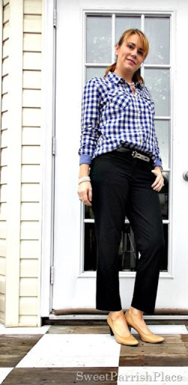 blue gingham, black pants, nude pumps