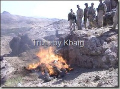 Burning the dead bodies of Afghans