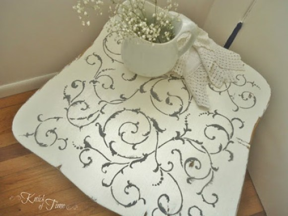chair stool stenciled
