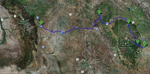 Map Hermosa to Buffalo