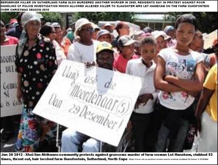 Afrikaansspeaking KhoiSan community in Northern Cape protesting against psycho killer of Mrs Let Hanekam 41 Jan202012