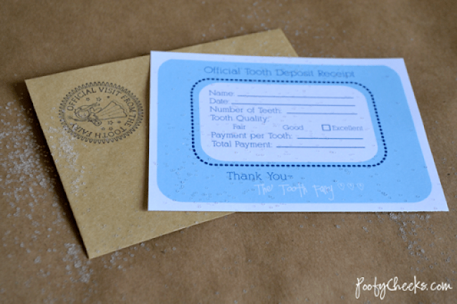 Official Tooth Fairy Deposit Receipt Printable