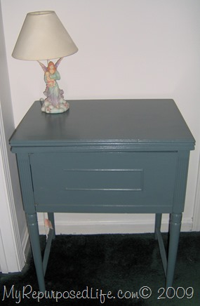 blue side table