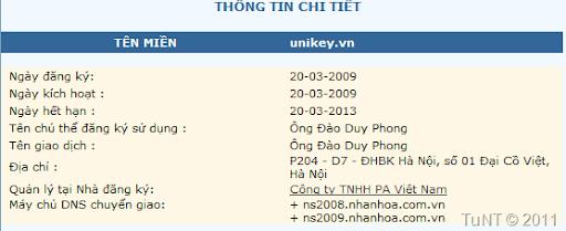 Thông tin chủ sở hữu domain unikey.vn