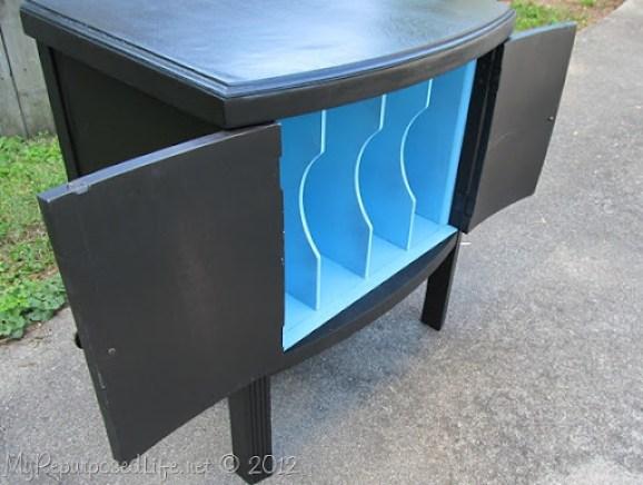 black & aqua vintage record cabinet