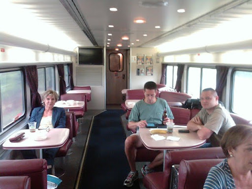Lounge car with Wendy, Mike, and David - all headed to the NA