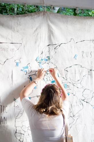 world map on painters tarp