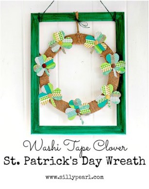 Washi Tape Clover St Patricks Day Wreath - The Silly Pearl