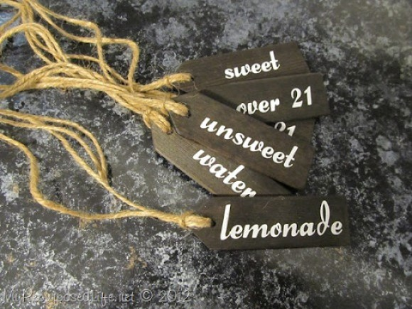 vinyl letters beverage tags (stained)