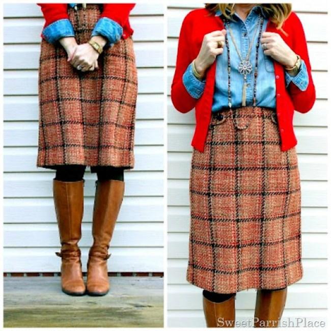plaid tweed skirt, denim shirt, red cardigan and tall boots8