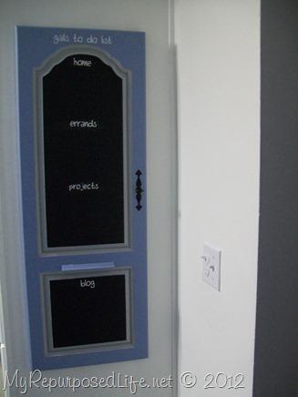 repurposed door into chalkboard