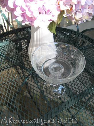 pedestal bowl repurposed glassware