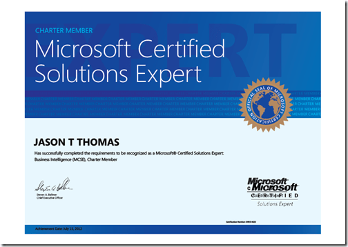 Jason Thomas - MCSE in BI SQL 2012