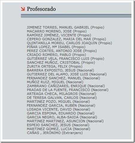 Profesorado que impartirá en el Curso Propio de Experto Universitario en la Enseñanza del Pádel, I Edición, Universidad de Granada.