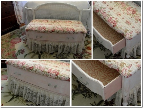 pretty pink bench made from a dresser