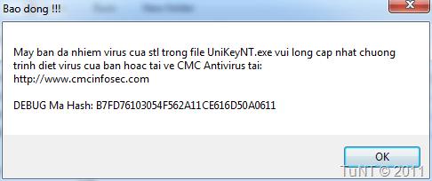 Chương trình UnikeyNT.exe bị nhiễm virus