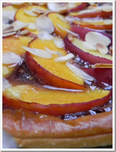 Nutella and peach tart