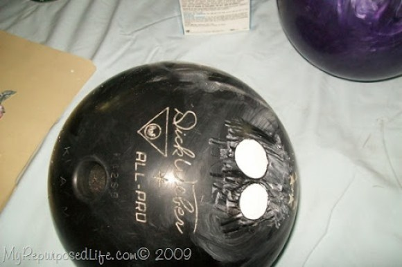 diy bowling ball gazing ball