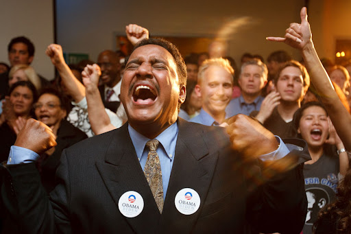 Hussein Adawe celebrates Obama win