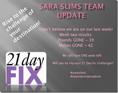 Sara slims team update