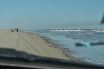 driving on the beach on north Padre Island