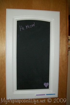 repurposed cupboard door chalkboard