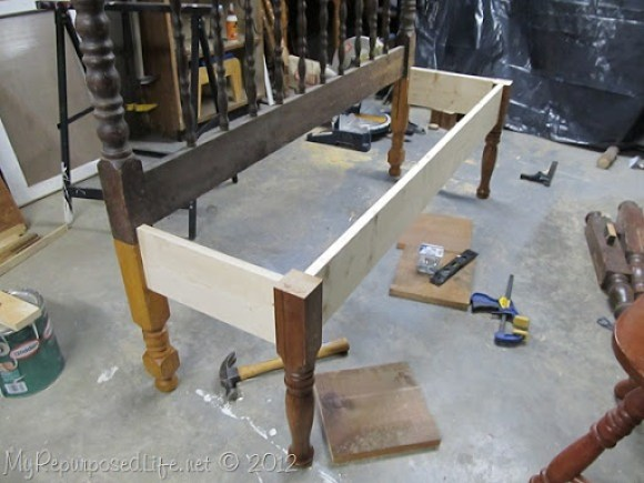 how to frame a headboard bench