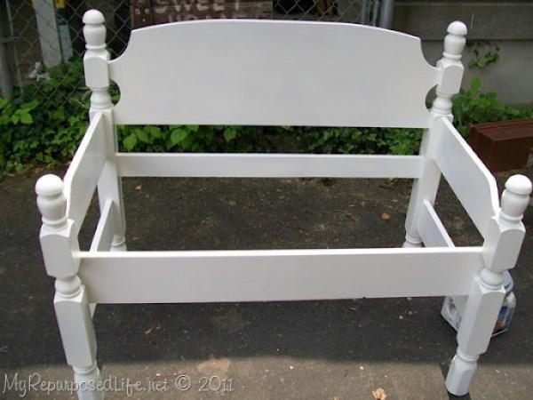 white twin headboard bench