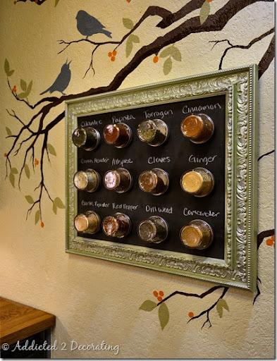 Framed Magnetic Chalkboard Spice Rack Addicted 2 Decorating
