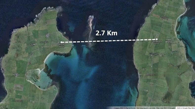 the flight distance between the islands is 2.7 Km