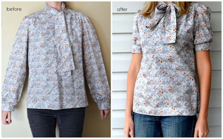 Frumpy Blouse to Cute Blouse Refashion DIY {a lemon squeezy home}