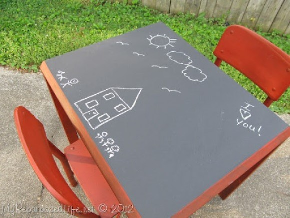 red chalkboard table for kids