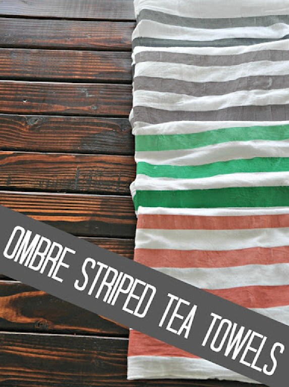 ombre striped tea towel