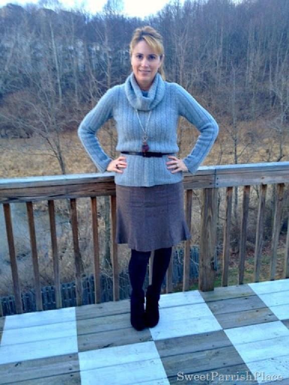tweed skirt, grey cowl neck sweater black booties