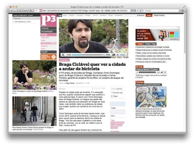 Site P3 do Público destacou blog Braga Ciclável em vídeo-reportagem