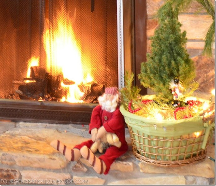 equestrian christmas mantel with santa claus