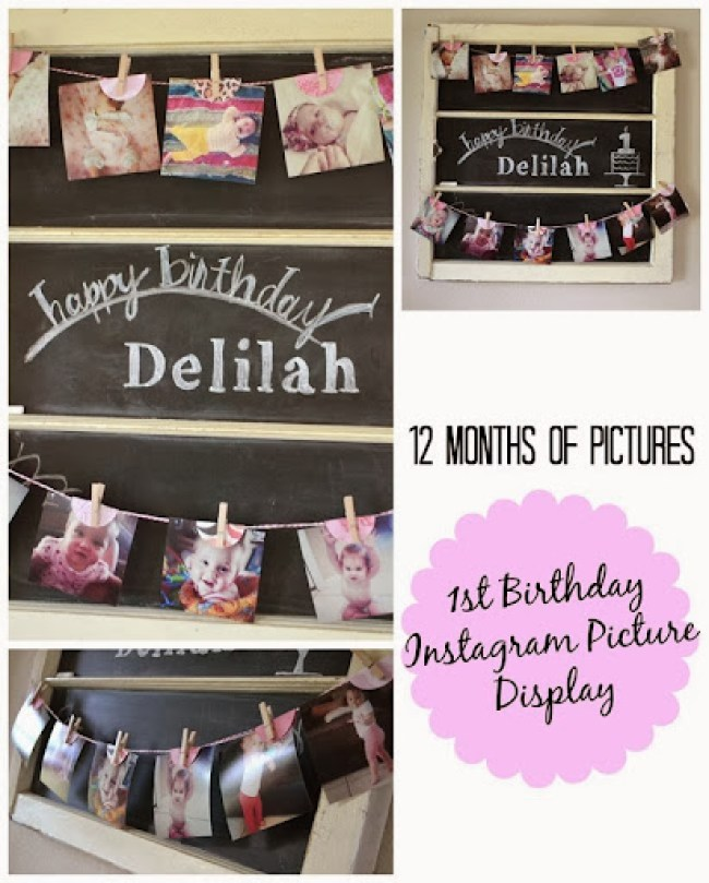 Instagram Photo Birthday Banner - A picture for each month leading up to babies first birthday