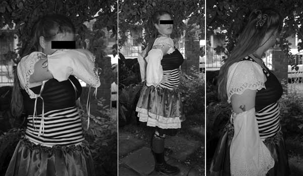 a triptych showing different angles of a girl wearing an outfit with lacy sleeves and gauntlets trimmed with trailing ribbons, a striped shirt, a layered skirt in tiers of lace and satin, with striped socks and Doc Marten boots