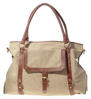 Beige and Tan Canvas Leather Strapping Bag by ASOS