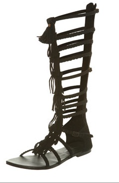 Black Suede Fringed Knee High Gladiator Sandals by Miss Selfridge