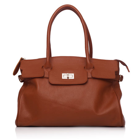 Brown Tan Cynthia Leather Bag by Oliver Bonas