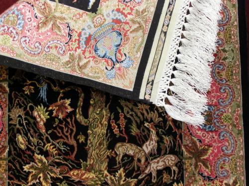 "Hereke Silk Carpet ""Topkapi"" with backside"