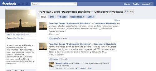 Faro San Jorge en Facebook