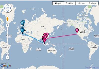Un listado de lugares visitados creado con Google Maps