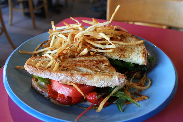 Roasted Red Pepper Sandwich & Shoestring Potatoes