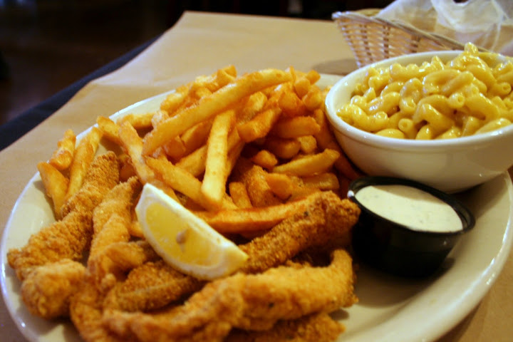 Catfish, Fries and Mac & Cheese
